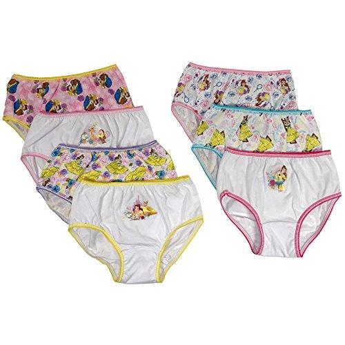 Disney Girls' Little' 7-Pack Beauty and The Beast Bikini Brief Underwear, Multi, 4