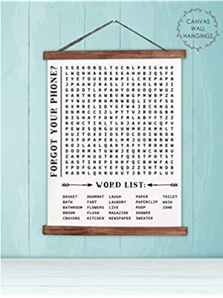 Amazon Com Wood Canvas Wall Hanging Bathroom Word Search Wall Art Forgot Phone 19x24 Inch Posters Prints