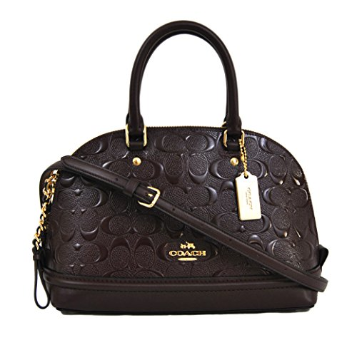 Coach Signature Debossed Patent Leather Mini Sierra Satchel, F55450 (Oxblood) Signature Small Satchel
