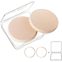 KOOBA 2pcs Round Makeup Sponges with 1 Travel Case, Beauty Face Primer Compact Powder Puff, Blender Sponge Replacement for Cosmetic Flawless Foundation, Sensitive and All Skin Types