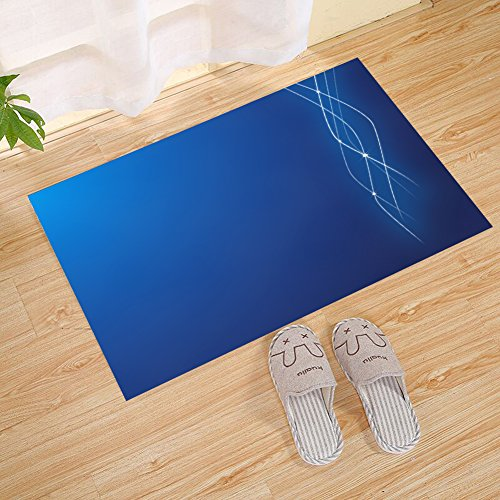 JANNINSE Modern minimalist style, personalized simple white line, diamond light series, vertical stripe pattern design, small door mat, blue, indoor and outdoor carpet non-slip mat (Stripes Design Diamond)