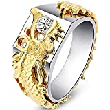 LWJYX 18K Yellow Gold Domineering Dragon Pattern Ring Unisex Band Size 6-10 Size 7