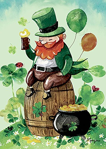 Lucky Shamrock Flag (Morigins Leprechaun Drinking - Double Sided St Patrick Lucky Clover Garden Flag 12.5