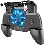 NOYMI Pubg Trigger Controller, Mobile Gamepad - 4 Fingers Pubg Game Assistant with Highly Sensitive Triggers,Left and RightTilt Probe,Fast Shooting (Black Fan)