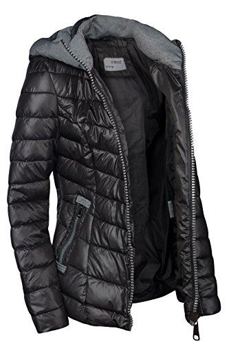 jacket jacket fall short Black seasons STEPP hood Between jacket Women's Winter PqxY07wn5