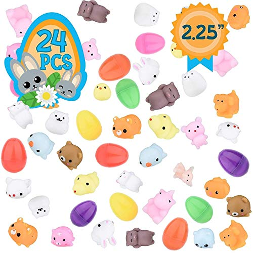 Totem World 24 Pcs Mochi Squishy Toys Prefilled Easter Eggs Foamy Stress Reliever Squishies for Easter Theme Party Favor, Easter Filled Eggs Hunt, Basket Filler, Classroom Prize Supplies