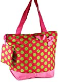 J Garden Pink Green Polka Dots Large Travel Tote Bag 16-inch