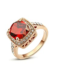 Yoursfs Gorgeous Fashion Cushion-cut Red Crystal in 18k Rose Gold Plated Engagement Rings Birthdaystones Gift