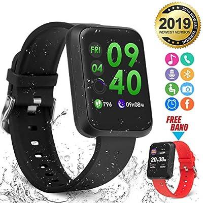 Smart Watch,Bluetooth Smartwatch Fitness Watch Wrist Phone Watch Touch Screen IP67 Waterproof Fitness Tracker with Heart Rate Monitor Pedometer Sports Activity Tracker Watch for Men Women Kids Black