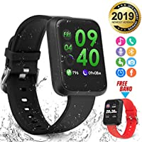 Smart Watch,Bluetooth Smartwatch Fitness Watch Wrist Phone Watch Touch Screen IP67 Waterproof Fitness Tracker with Heart Rate Monitor Pedometer Sports Activity Tracker Watch for Men Women Kids Black