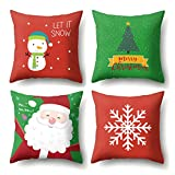 Christmas Pillow Covers Set of 4 Throw Pillow Cases 18x18 for Home Car Decorative (Christmas Tree,Christmas Deer,Snowflakes)