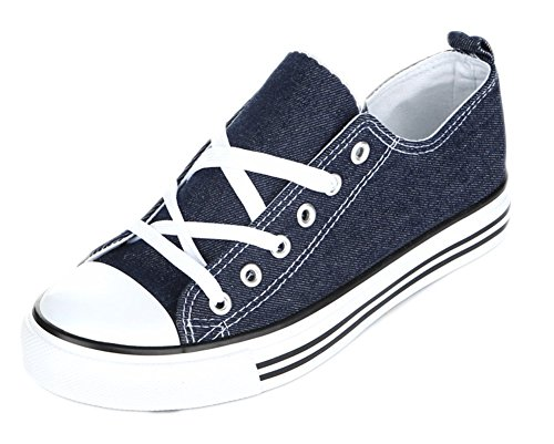 Athletic Denim Sneakers - Girls Canvas Sneakers Low Top Classic Fashion Tennis Athletic Shoes Kids (2 Kids, Denim)