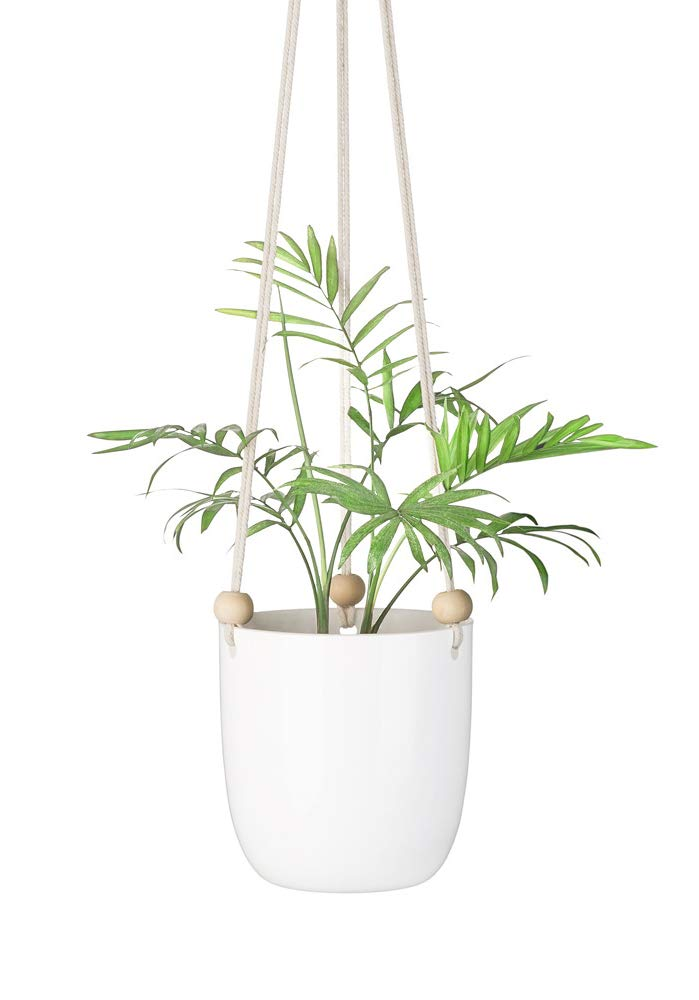 Mkono Ceramic Hanging Planter Macrame Plant Holder Succulent Flower Pot with Wood Beads