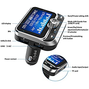 51ePLM cR3L. SS300  - Clydek-Bluetooth-FM-Transmitter-Universal-Wireless-FM-Transmitter-Radio-Adapter-Audio-Receiver-Stereo-Music-Tuner-Modulator-Car-Kit-with-USB-Charger-Remote-Control-18-Inch-Large-Screen