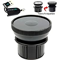 """Universal Vehicle Drinks Cup Holder Mount Adapter w/ 3.5"""" 90mm Suction Mount Surface & Adjustable Base for All Standard Suction Mount such as Arkon ChargerCity Garmin Nuvi Magellan Roadmate TomTom XL XXL VIA Go Start GPS mounts & more to hold Smartphones (iphone 6s Plus, Galaxy S6 Edge Note 4 5 Nexus HTC ONE Droid Moto X)/ Tablets / Radar Detectors / MP3 Players & more (Use conjointly with your existing suction mount) *Free ChargerCity Micro SD Card Reader included*"""