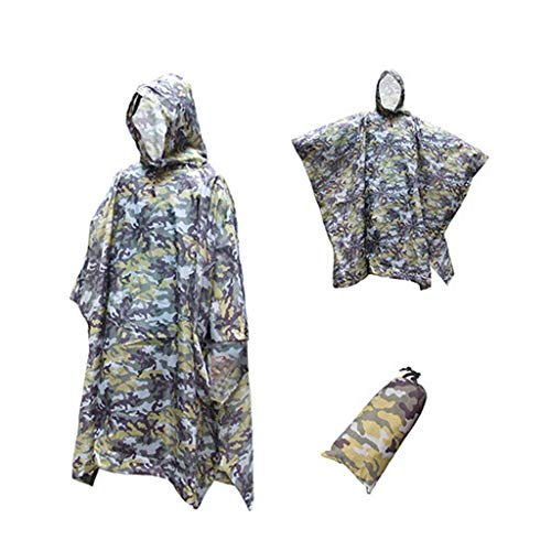 CapsA Waterproof Rain Poncho for Boys Men Women Adults Military Tactical Multifunction Raincoat Poncho Cover Tent Hiking Rainwear (Yellow, One Size)
