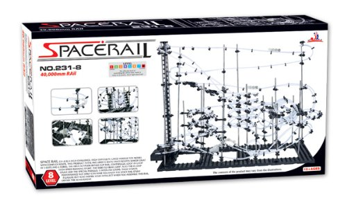 SpaceRail Game 40000mm, Roller Coaster Building Set, Marble Roller Coaster Kit with Steel Balls, Great Educational Toy for Boys and Girls, Level 8 (Roller Steel Coaster Ball)