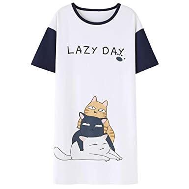 5e777916a Jashe Tweens/Teens Nightgown – Short Sleeve Cute Cat PJS Nightshirt Big  Girls Size 14