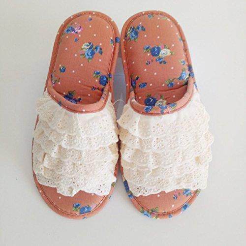 Dentelle orange Coréen Et Automne Printemps Pantoufles Plancher Chaussures De Accueil Orange Chaussures Beige qUB4xxwPt
