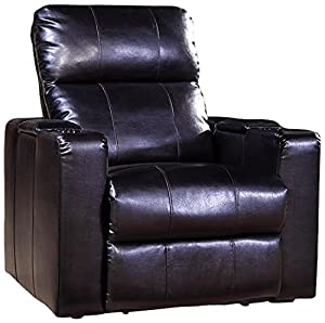 Black chair with straight sides, semi-reclined