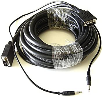 VGA SVGA Monitor Cable PC Laptop HD15 Male M//M w// 3.5mm Stereo Audio Plug