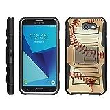 TurtleArmor   Compatible for Samsung Galaxy J7 2017 Case   J7 Prime   J7 Sky Pro [Hyper Shock] Armor Hybrid Cover Kickstand Impact Holster Belt Clip Sports and Games Design - Pile of Baseballs