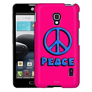 LG Optimus F6 Case, Slim Fit Snap On Cover by Trek Blue Peace on Pink Case