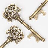 Ella Celebration Key Bottle Openers Wedding Favors and Party Decorations Vintage Skeleton Keys, Classic (Set of 50 Keys, Antique Gold)
