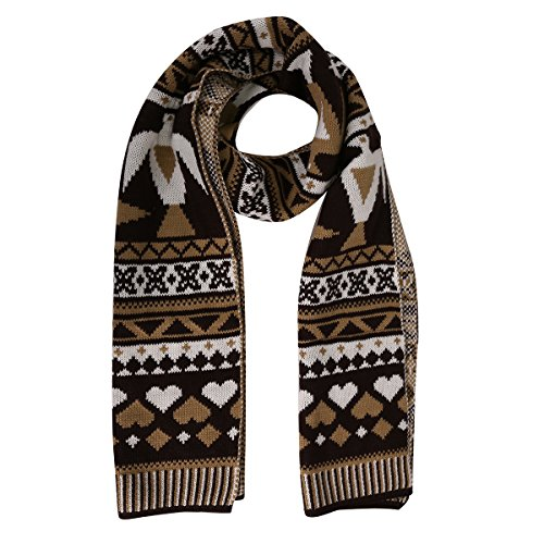Candyanglehome Christmas Knitting Scarf Women Men Winter Warm Thick Wool Reindeer Printed Knit Shawl
