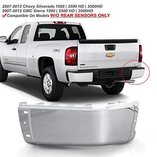 ACANII - For 2007-2013 Chevy silverado 1500 GMC Sierre 1500 Chrome Steel Rear Bumper End Cap w/o Holes Passenger Side