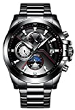 BINGER Men's Mechanical Watch Complications Outdoor Sport Stainless Steel Band (All Black)