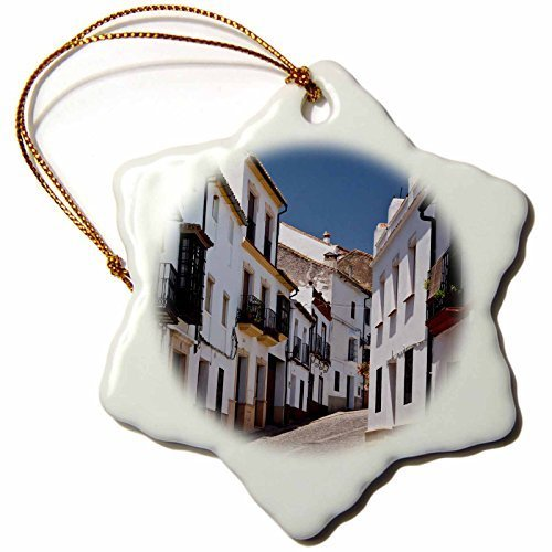 Novelty Christmas Decorations Spain Andalusia Malaga Province Ronda Street Scene In Ronda Porcelain Snowflake Ornament Craft Crafts Xmas Tree Hanging by Rutehiy