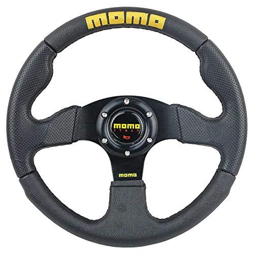 Momo Racing Steering Wheels - 325mm 3 Spoke PVC Racing Steering Wheel Fits SPARCO Boss Kit w/MOMO Horn #002