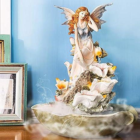 Statue Fontana da Tavolo,Fontana dellangelo Giglio Fiore dAcqua Resina Acqua Decorazione Fontana a Cascata per Desktop Casa Gioielli creativi Regali di Nozze-Giallo 16.5pollice