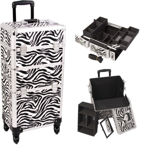 33 Inch Zebra Print Pattern 2 in 1 Interchangeable Series Cosmetic Train Suitcase Make Up Travel Tote with 4-360 Degree Rotating Wheels and Telescoping Tow Handle Beauty Supply Carrying Case