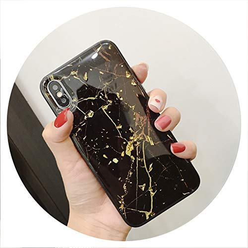 ng Marble Phone Case for iPhone X XS Max XR Soft TPU Cover for iPhone 7 8 6 6s Plus Glitter Case Coque Funda,Black,for iPhone 8 Plus ()
