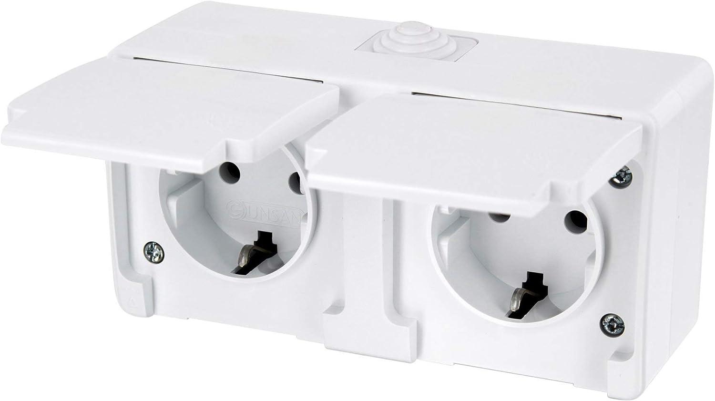 Aufputz Feuchtraum Doppel-Steckdose mit Feder-Klappdeckel IP54 - All-in-One - Rahmen + Einsatz + Abdeckung (Serie G1 reinweiß ) HAVA