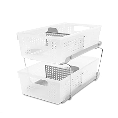 madesmart 2-Tier Organizer W/Dividers, Large, Frost