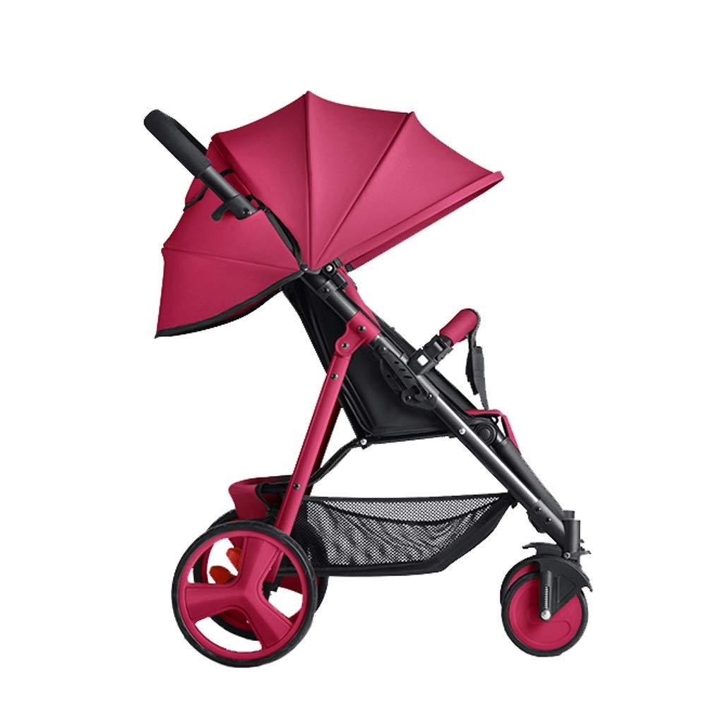 Poussette citadine Poussette Ultra L/éger Portable Chariot Pliant Multi-Fonction B/éb/é Enfant Pousser Poche Parapluie Dossier Ajustement Libre 4 Couleurs Couleur : Rouge