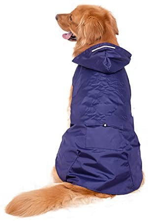 Morezi - Chubasquero para Perro con Capucha y Cuello y Tiras Reflectantes seguras, Ultraligero,