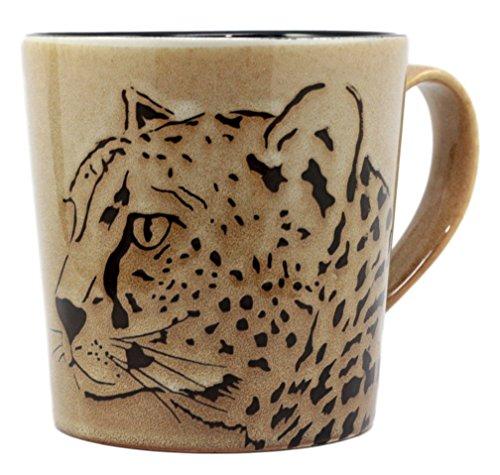 Atlantic Collectibles Glazed Stoneware Wildlife Safari Cheetah Cat Print 16oz Ceramic Mug Coffee - Cheetah Cats Print