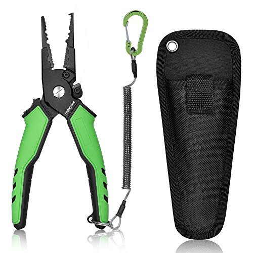 Sidomma Multi-use Fishing Pliers Saltwater with Sheath Split Ring Remove Hook Fishing Gear Fishing Tool Flyfishing Gear Ice Fishing Gear Fishing Gifts for Men
