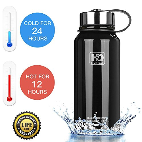 50 oz, 37 oz, 27 oz, 21 oz Stainless Steel Vacuum Insulated Water Bottle, Wide Mouth with Leak Proof Cap and Built-in Filter (Black, 50oz)