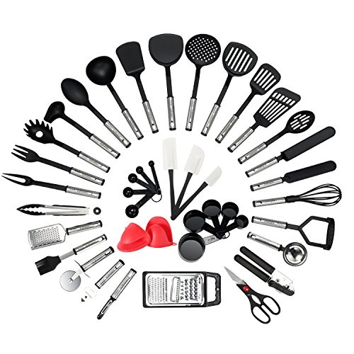 NexGadget Premium Kitchen Utensils 38 Pieces Kitchen Utensils Sets Stainless Steel And Nylon Cooking Tools Spoons, Turners, Tongs, Spatulas, Pizza Cutter, Whisk And More