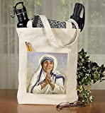 St. Teresa of Calcutta Canvas Tote Bag with Pocket, 13'' x 14'' H with 3'' Gusset, 12 Pack.