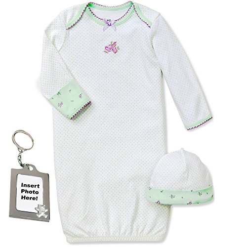 Little Me Rose Flower Newborn Gown Hat and Keychain Green White Purple 0-3 mth - Drawstring Gown