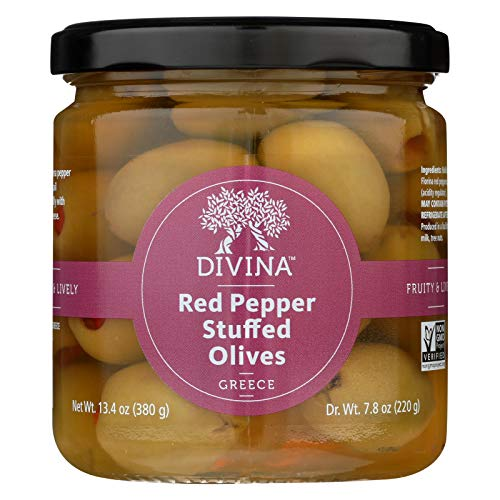 (Divina Olives Stuffed with Sweet Peppers - Case of 6 - 7.8 oz.)