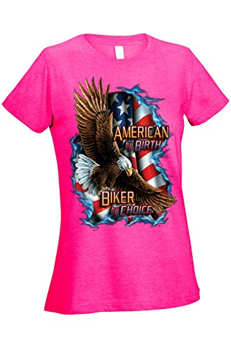 SHORE TRENDZ Women's Ladies T Shirt American by Birth Biker by Choice Graphic Tee: Heather Hot Pink (XL)