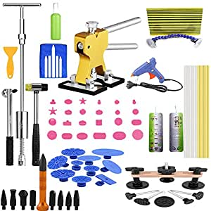Velioy 66 Pcs DIY Paintless Dent Removal Tool Kit for Auto Body LED Reflect Light Board Dent Lifter Bridge Puller Set For Car Hail Damage And Door Dings Repair