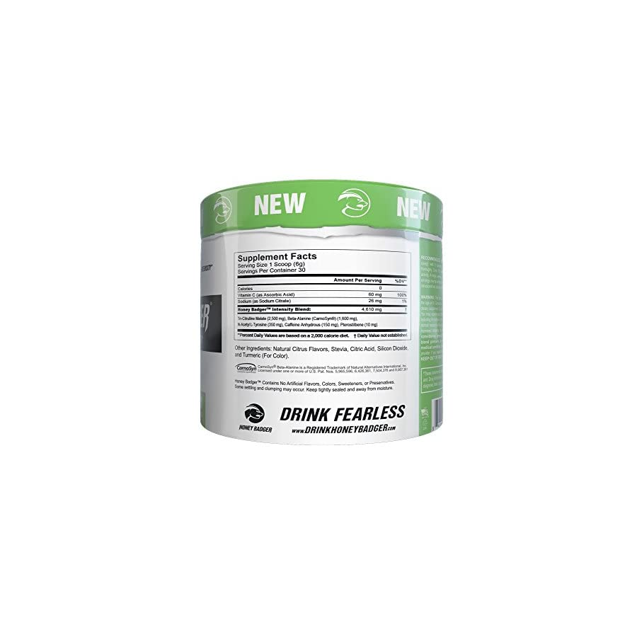 Honey Badger Performance Energy Natural Pre Workout for Men & Women (Lemon Lime, Naturally Flavored, 30 Servings, Sucralose Free, No Artificial Colors or Sweeteners, Beta Alanine)